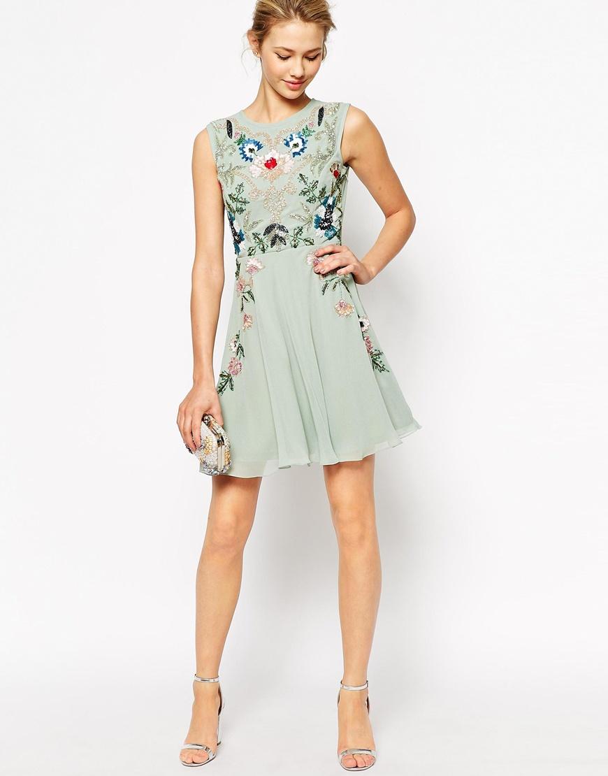 frock and frill sleeveless floral embellished skater dress in green lyst. Black Bedroom Furniture Sets. Home Design Ideas