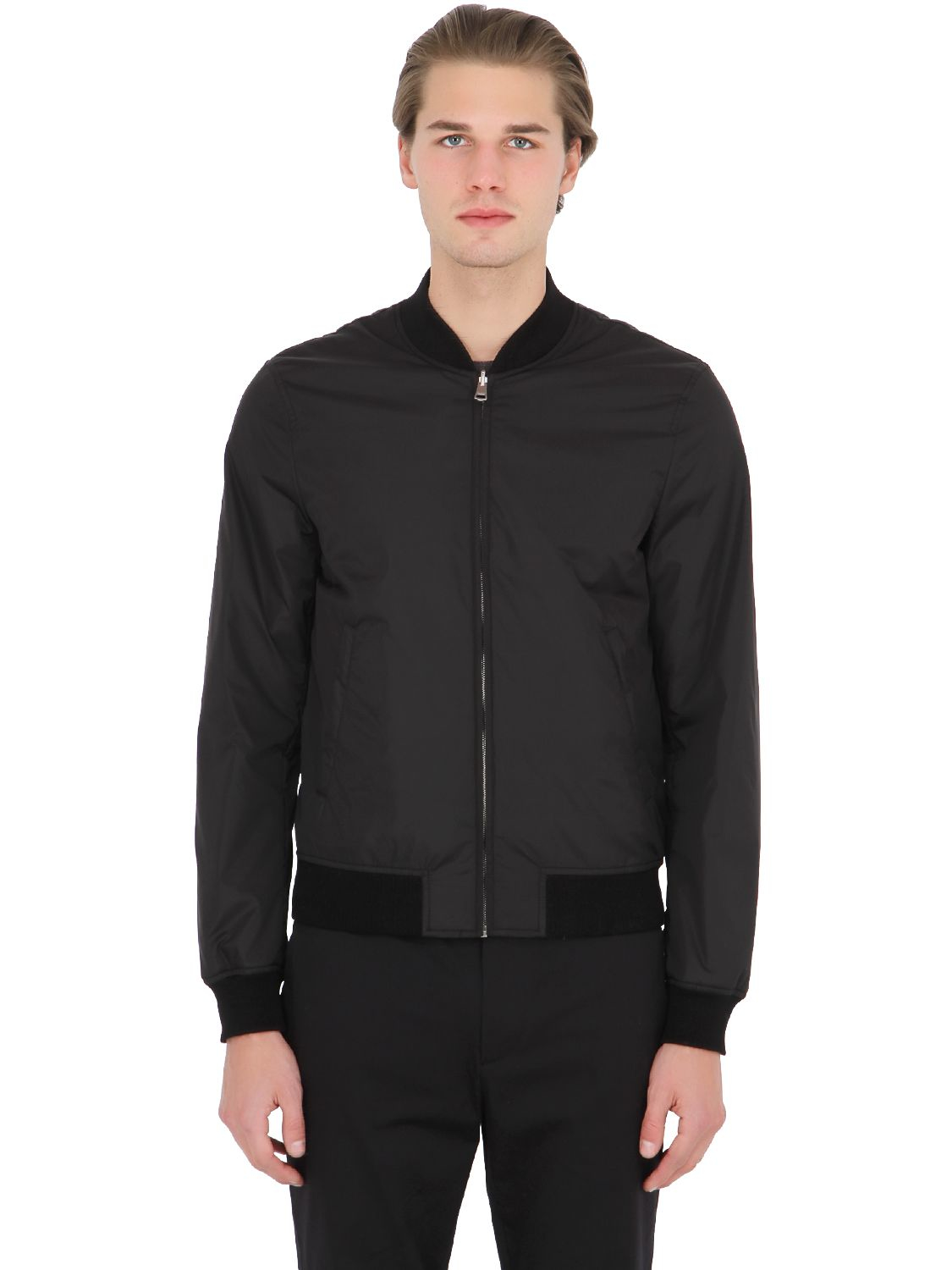 Gucci Reversible Nylon Jacquard Bomber Jacket In Black For