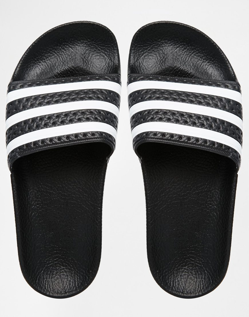 cf15a289f adidas Originals Originals Adilette Black & White Stripe Slider Sandals in  Black - Lyst