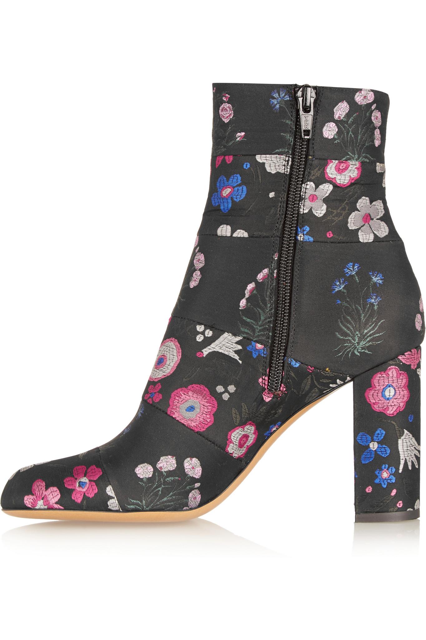 edb57277c85 Valentino Spring Garden Brocade Ankle Boots in Black - Lyst