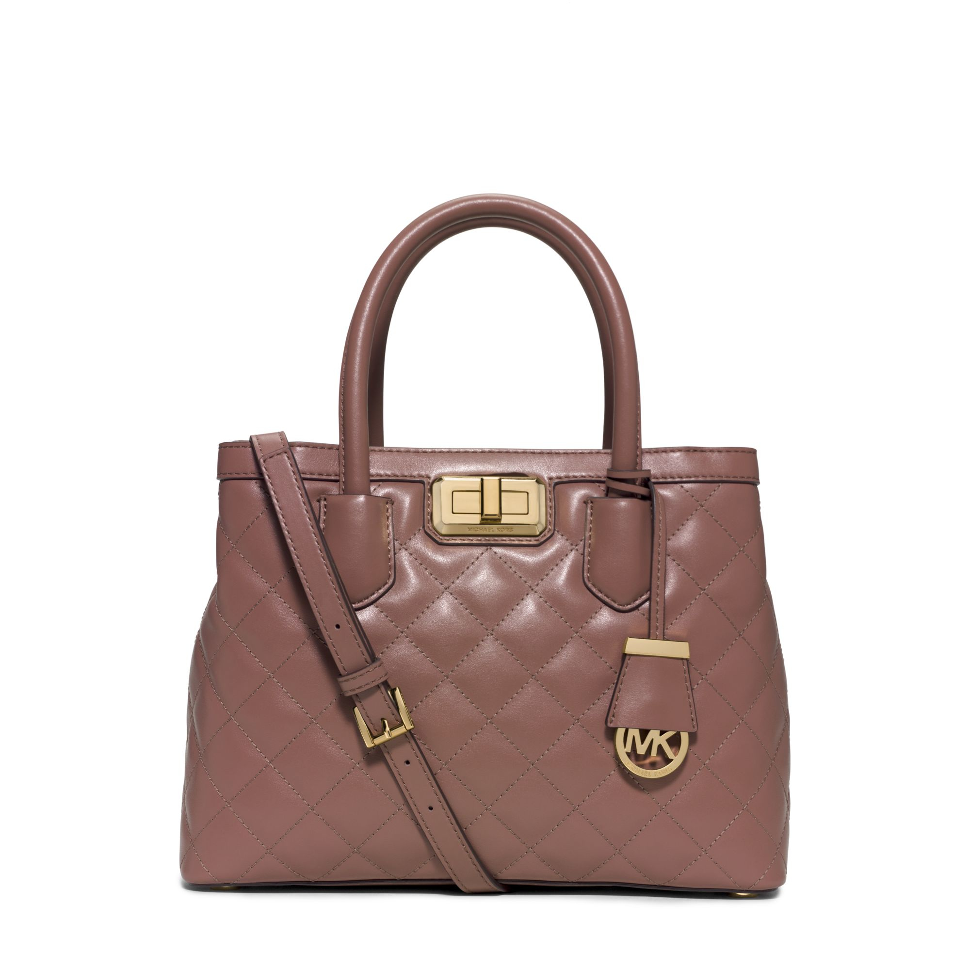 michael kors hannah medium quilted leather satchel in pink dusty rose lyst. Black Bedroom Furniture Sets. Home Design Ideas