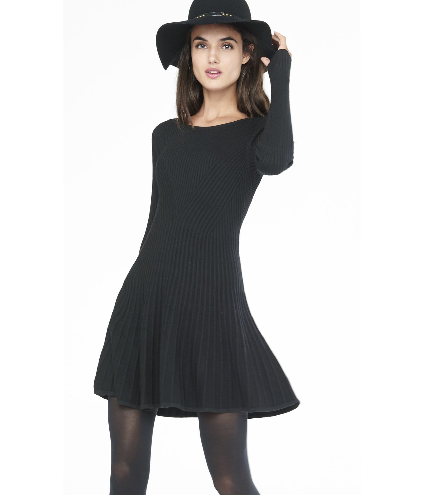 8bd4ce24ad4 Express Black Ribbed Fit And Flare Sweater Dress in Black - Lyst