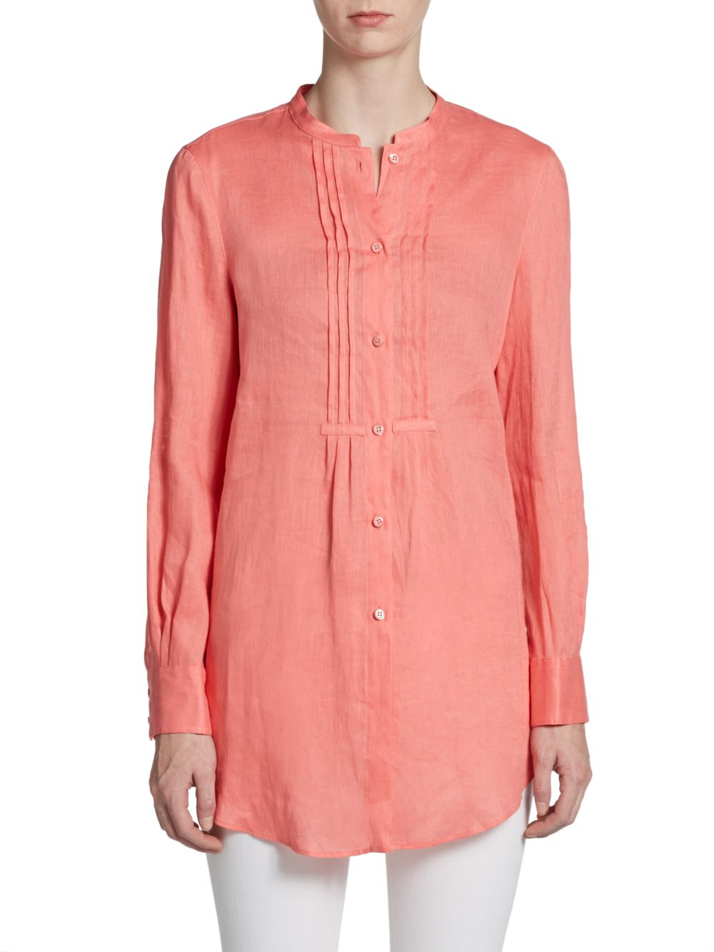 Lyst Armani Linen Tunic Blouse In Pink