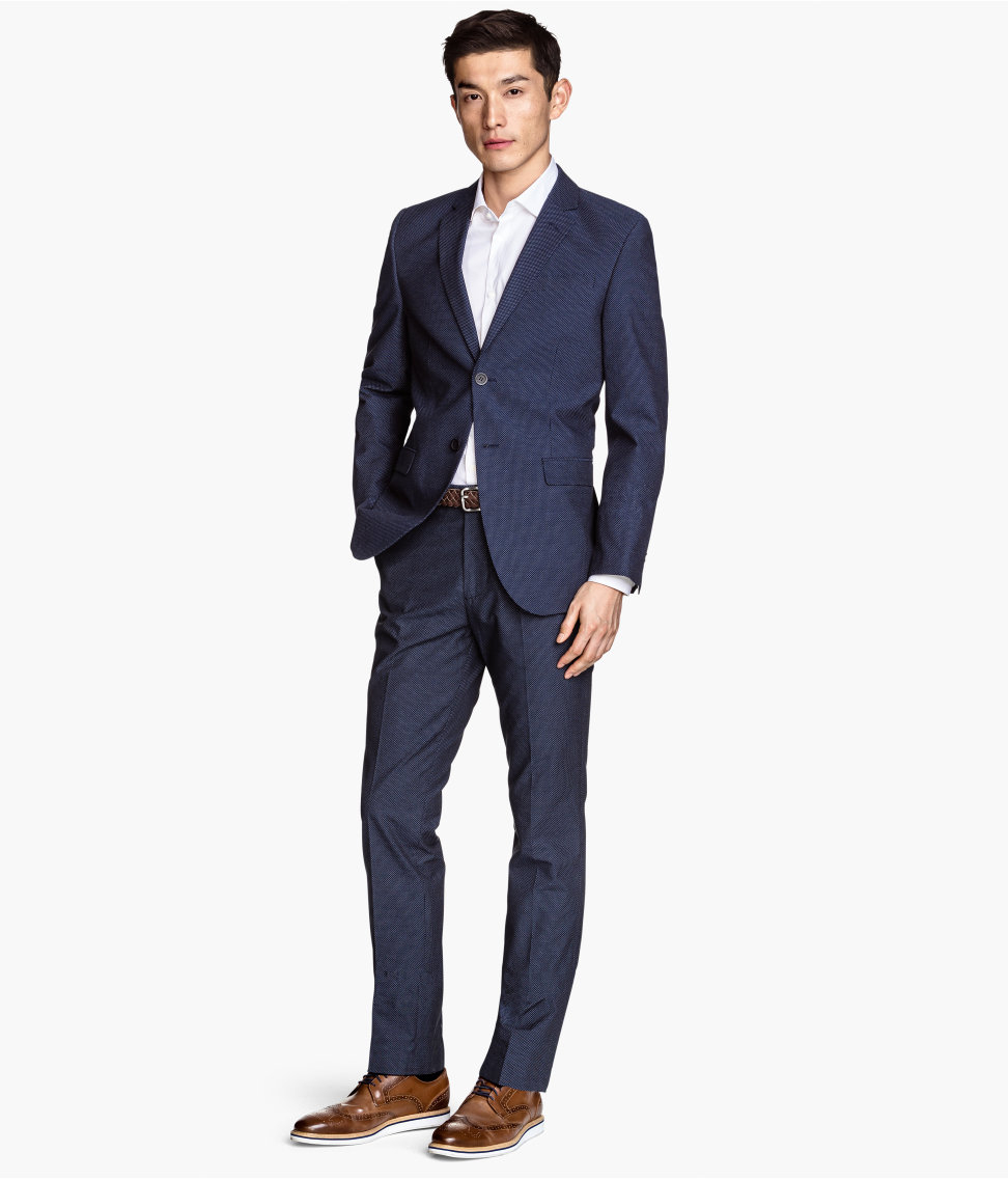 H&m Suit Trousers Slim Fit in Blue for Men | Lyst