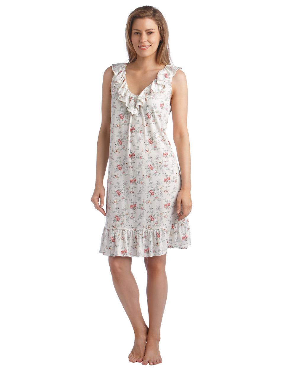 Lyst lauren by ralph lauren floral printed cotton for Robe chemise ralph lauren