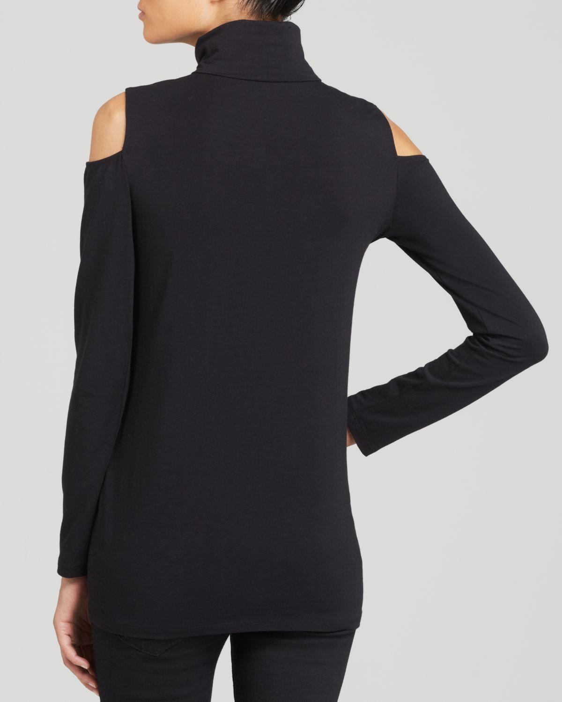 cecaeb71024ac9 Lyst - DKNY Cold Shoulder Turtleneck Top in Black