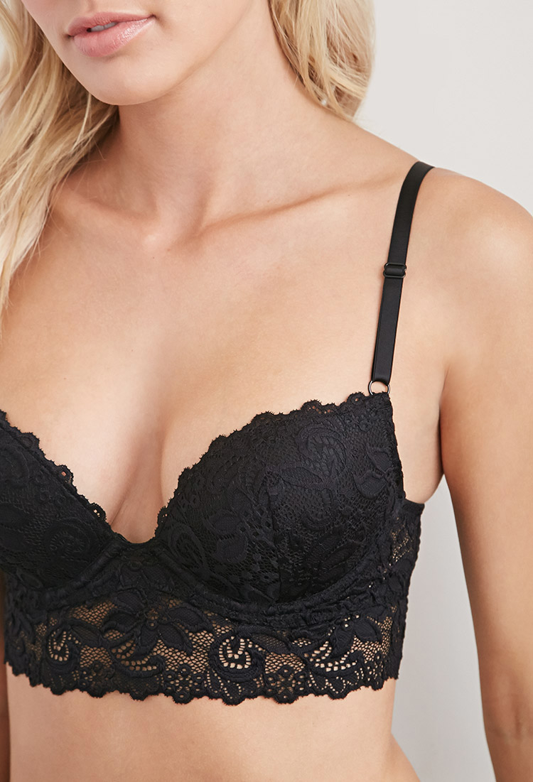 bec818997dd50 Lyst - Forever 21 Floral-embroidered Lace Push-up Bra in Black