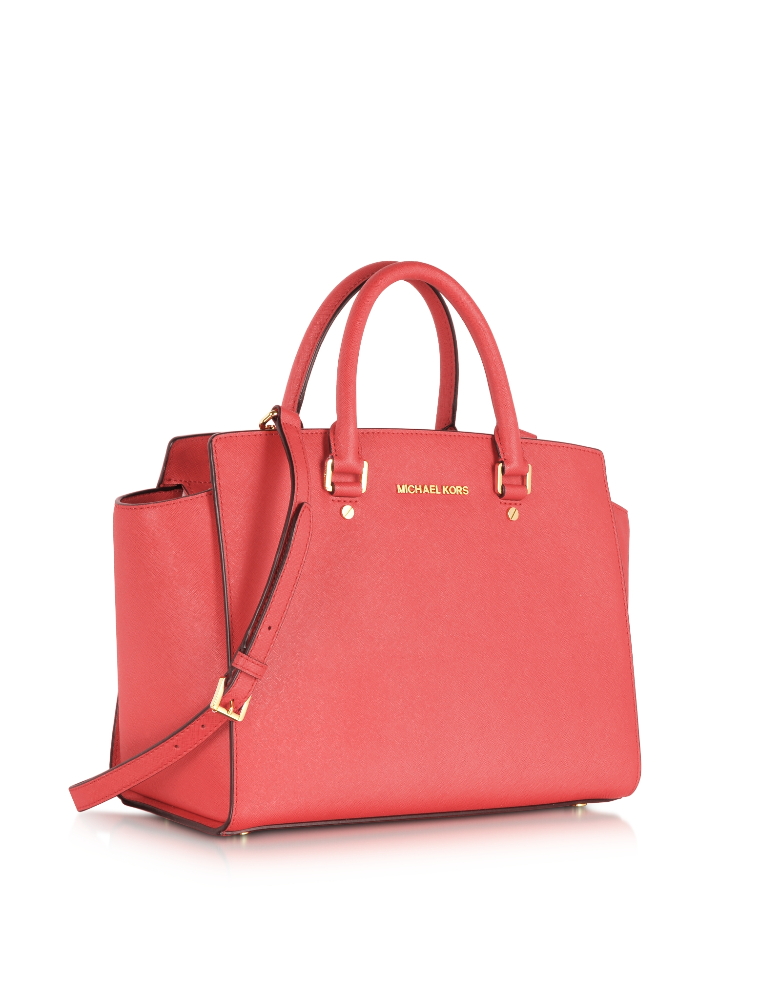 815db4665250 Michael Kors Large Selma Top-zip Saffiano Leather Satchel in Red - Lyst