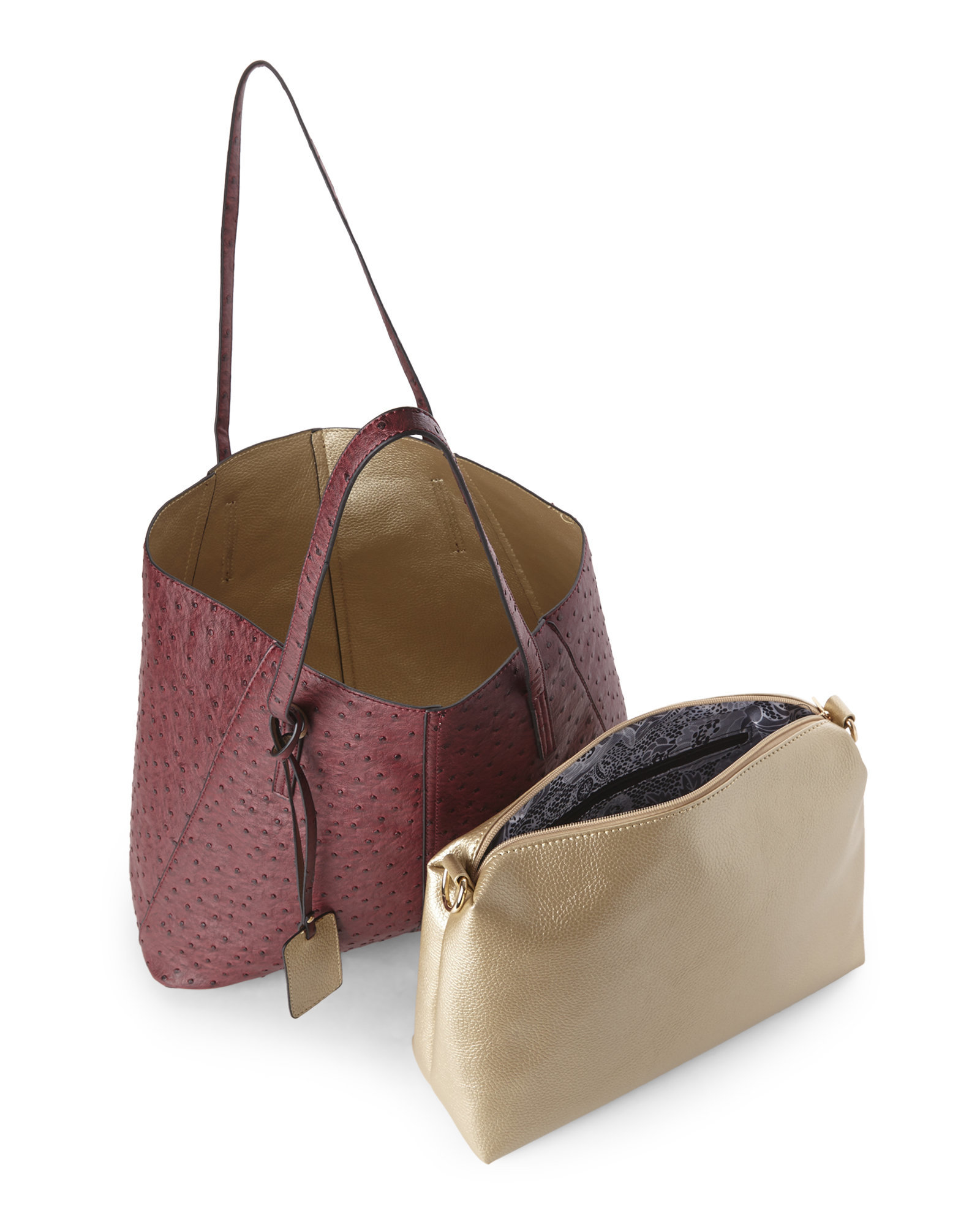 Reversible Purse Video: Imoshion Wine Ostrich & Gold Reversible Bag-In-Bag
