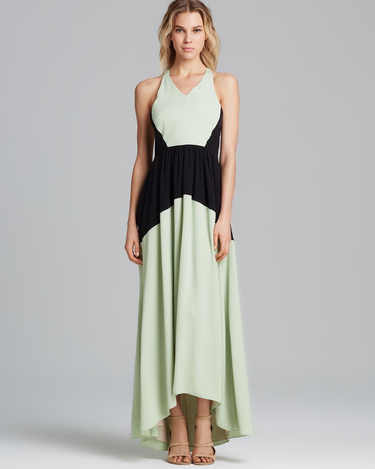 Tibi Dress - Color Block Maxi in Green | Lyst