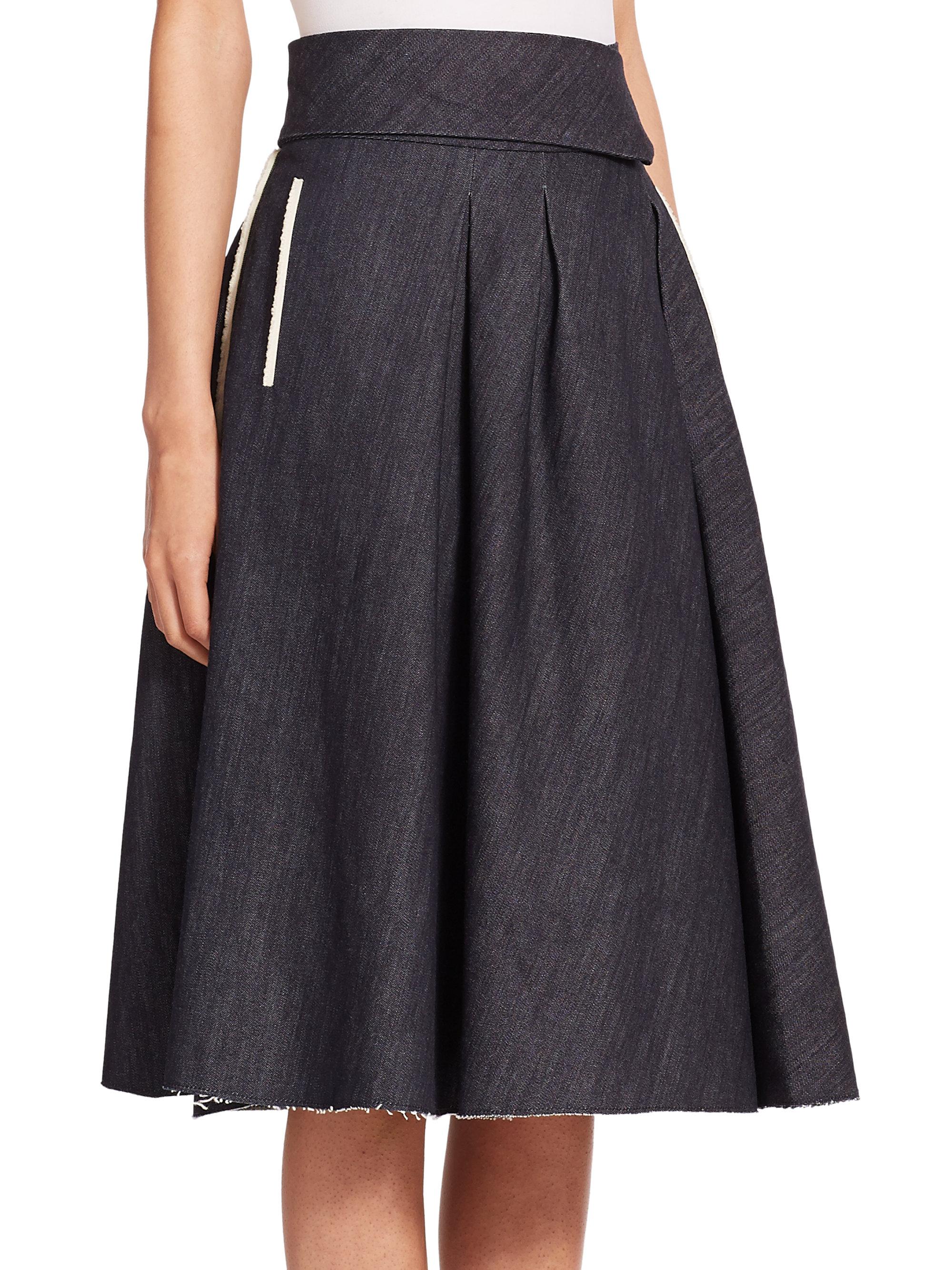 Bottega veneta Pleated Denim Midi Skirt in Blue | Lyst