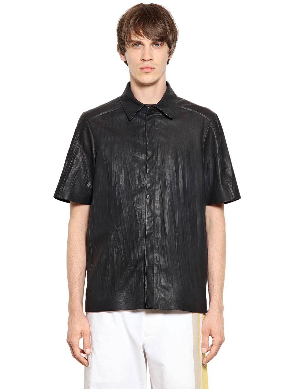 Lyst jil sander crinkled nappa leather shirt in black for Jil sander mens shirt