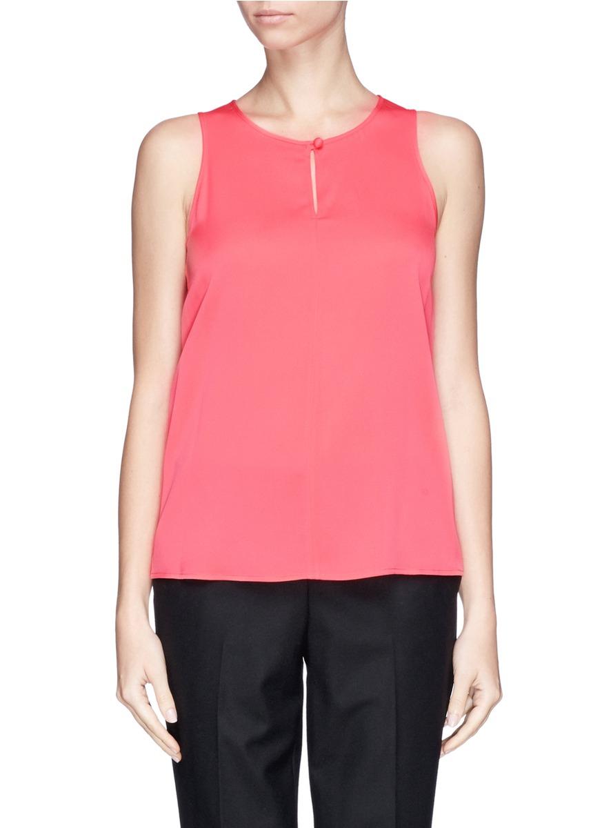 Armani Sleeveless Stretch Silk Blouse in Pink