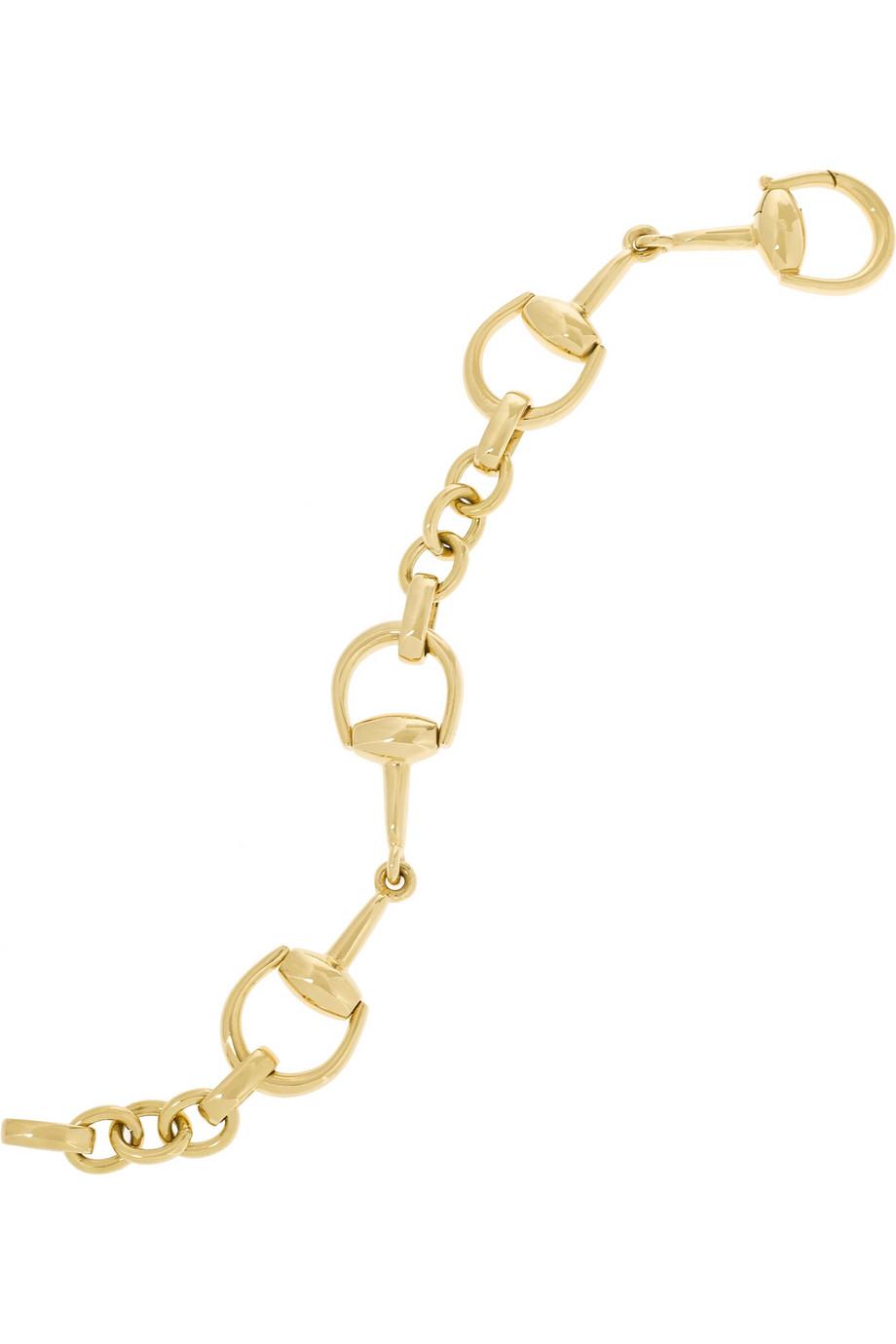 gucci 18 karat gold horsebit bracelet in metallic lyst