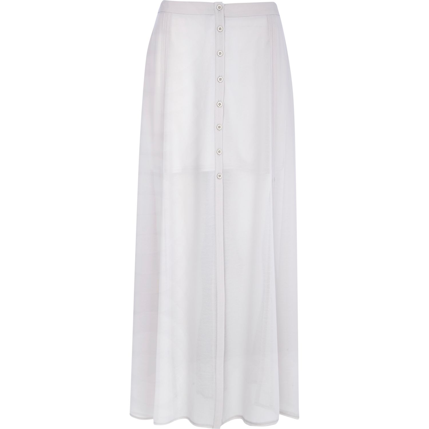 river island light grey chiffon button through maxi skirt