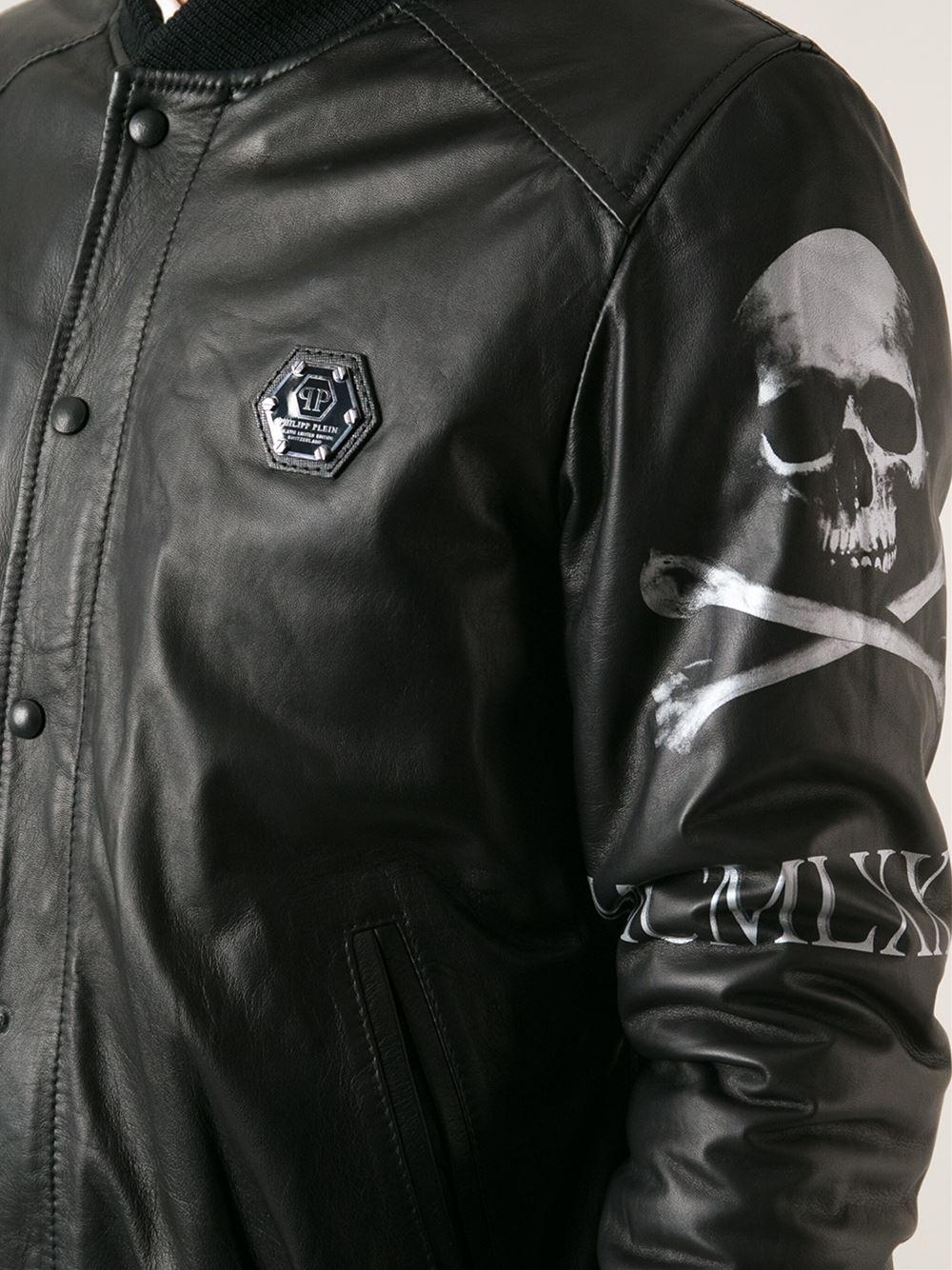 Lyst Philipp Plein Leather Bomber Jacket In Black For Men