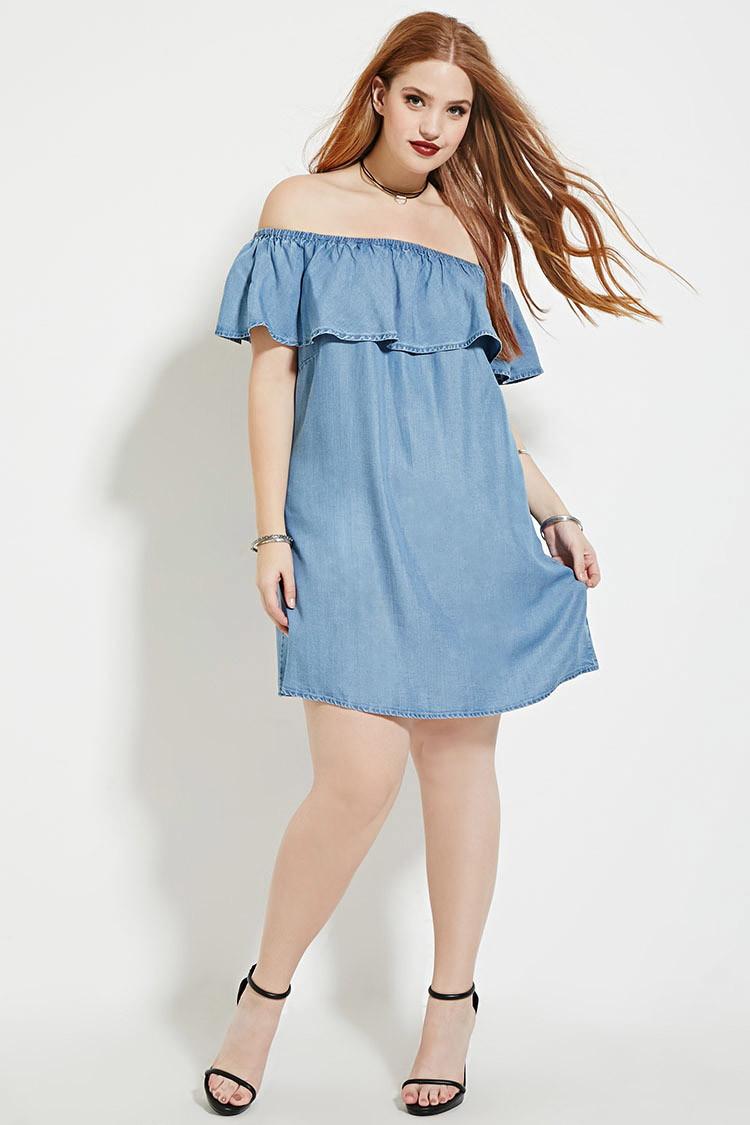 Womens Plus Size Chambray Shirt Dress