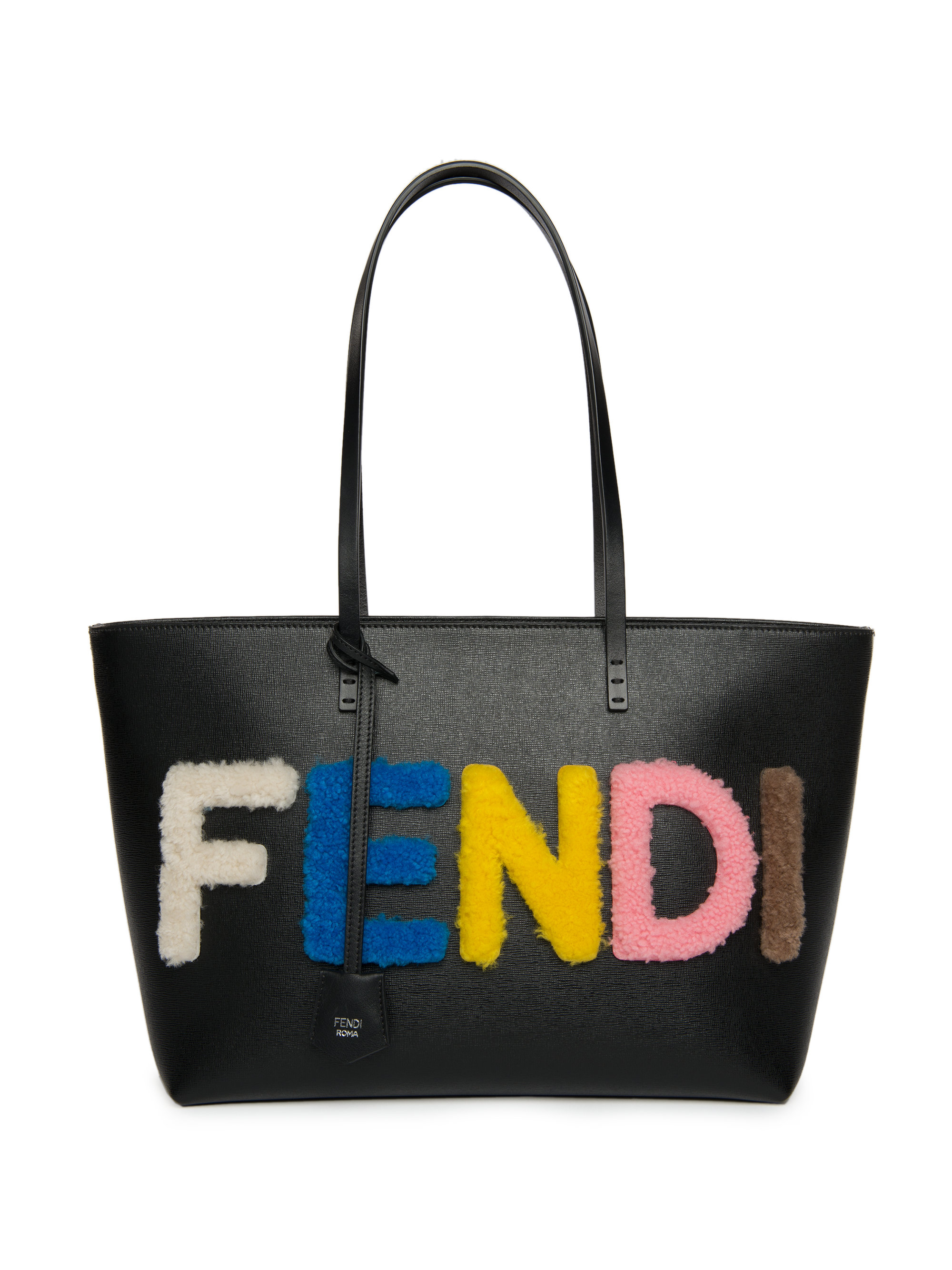 4b4cd9e4c715 Lyst - Fendi Logo Small Multicolor Shearling   Saffiano Leather Roll Bag