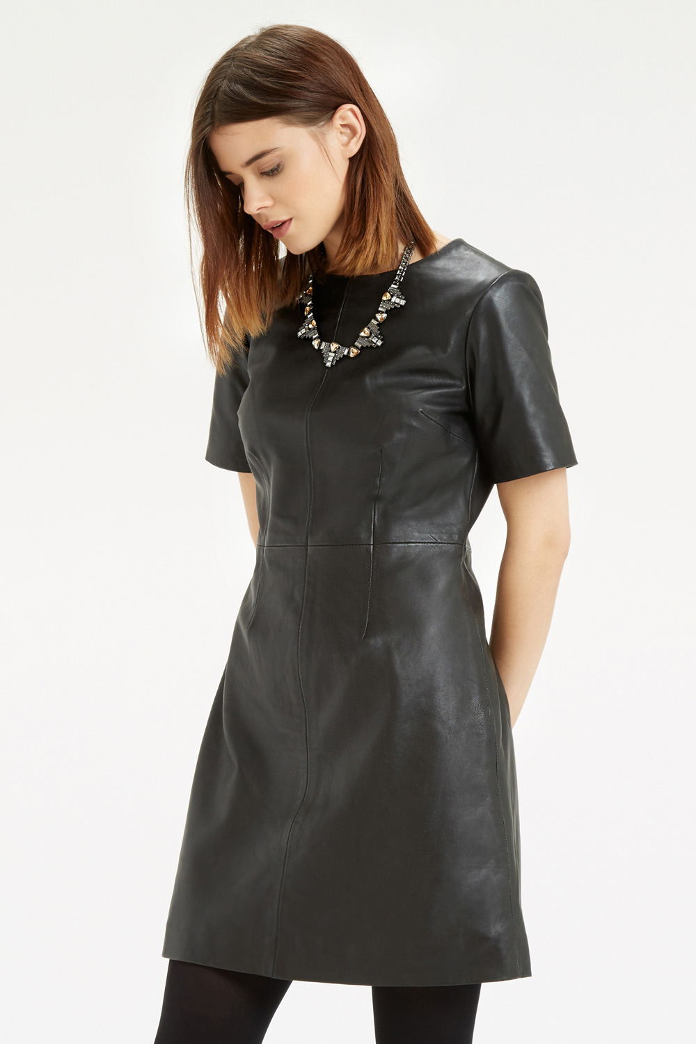 Oasis Leather Dress In Black Lyst