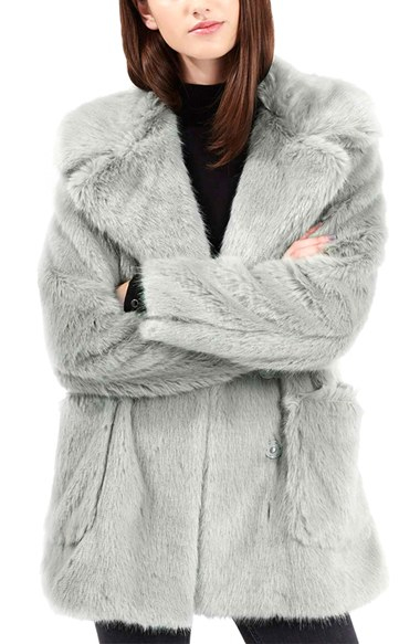 Topshop Claire Faux Fur Coat In Gray Lyst