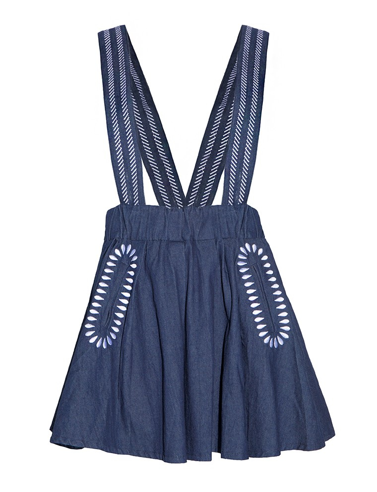 pixie market denim suspender skirt in blue lyst