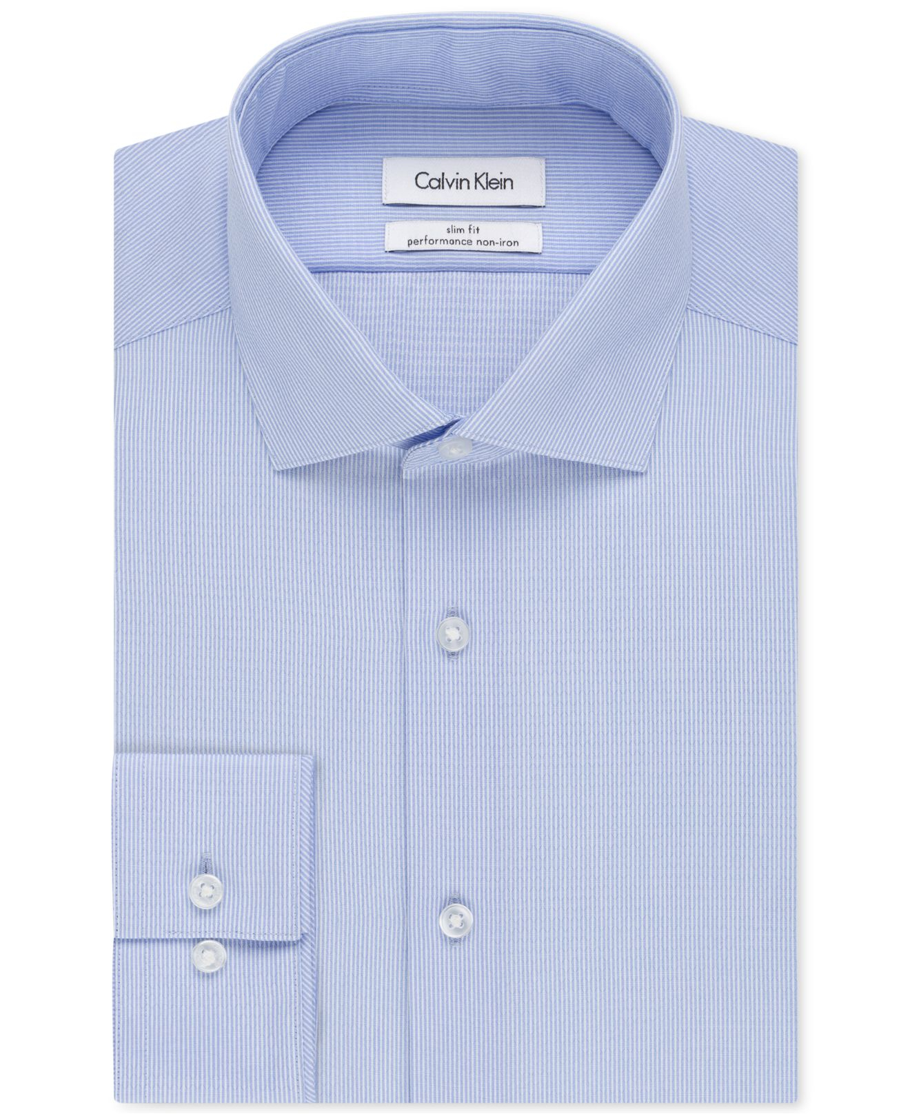 Calvin klein steel slim fit non iron performance fineline for Slim fit non iron dress shirts