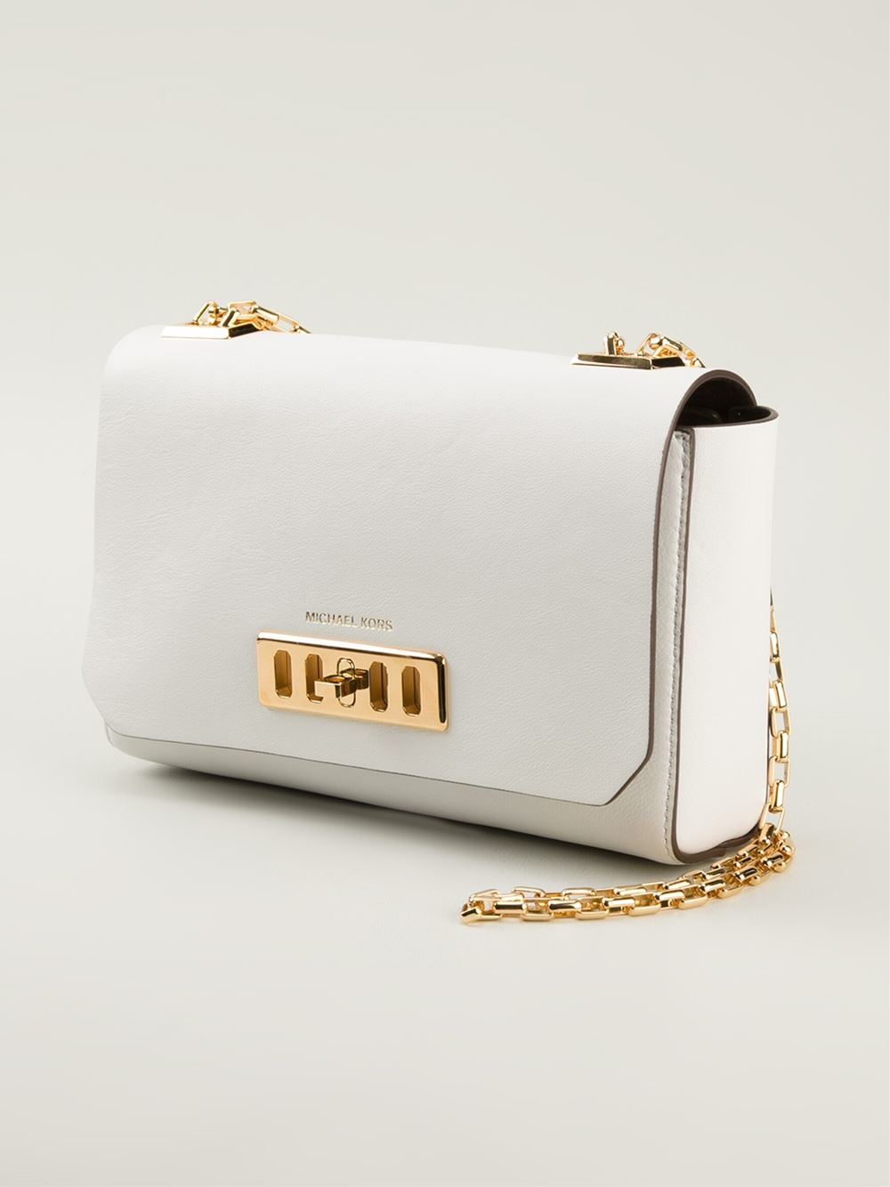 michael kors white handbag gold chain