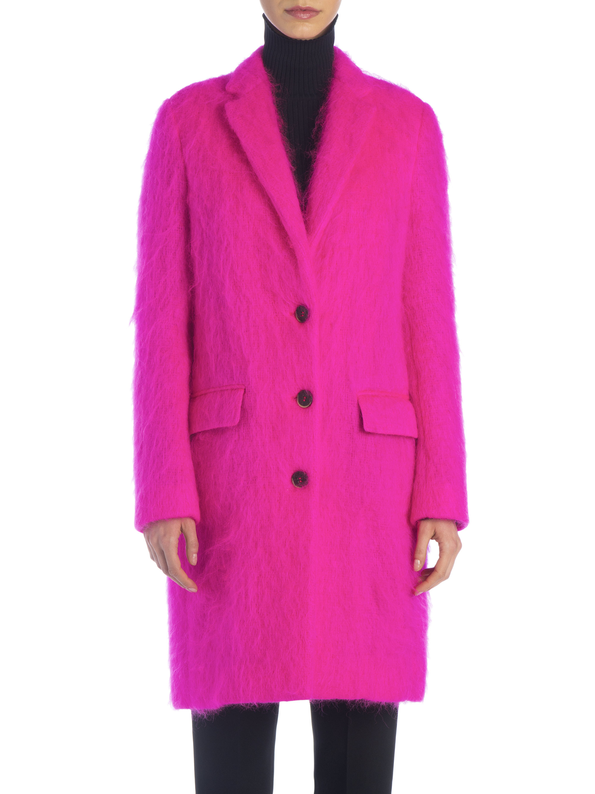 Msgm Long Mohair-blend Coat in Pink   Lyst