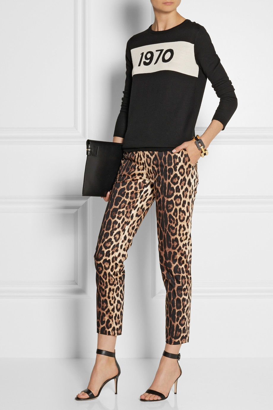 lyst boutique moschino cropped leopardprint stretch