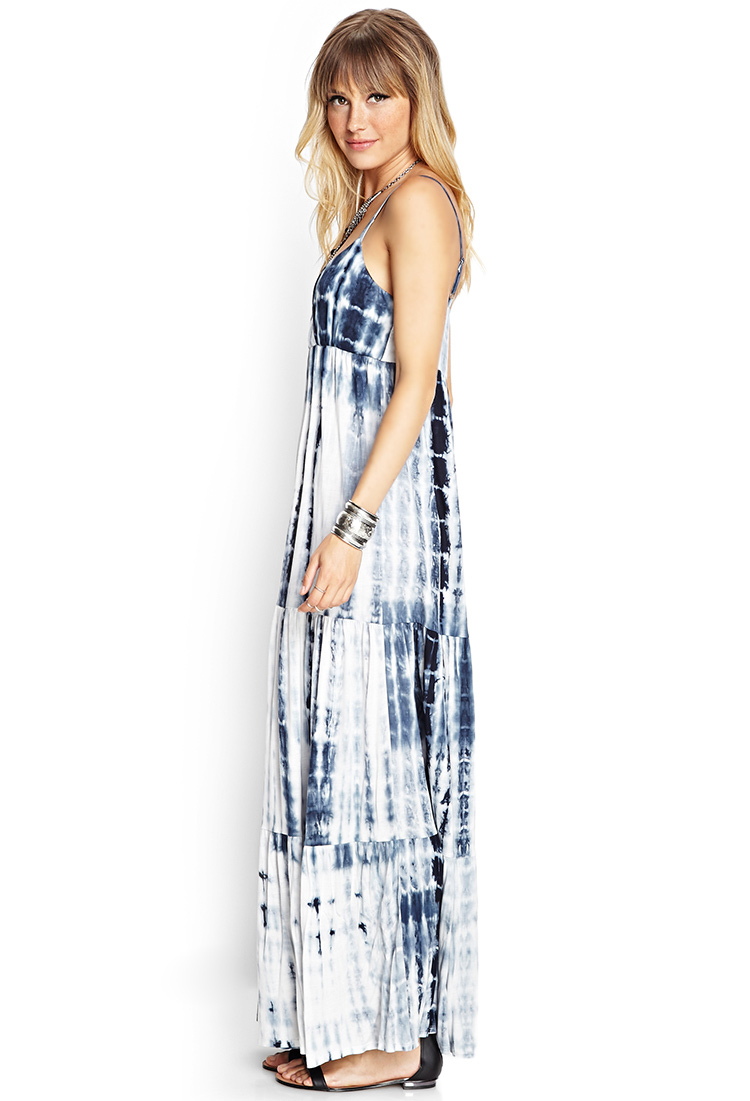 Lyst Forever 21 Tie Dyed Maxi Dress In Blue