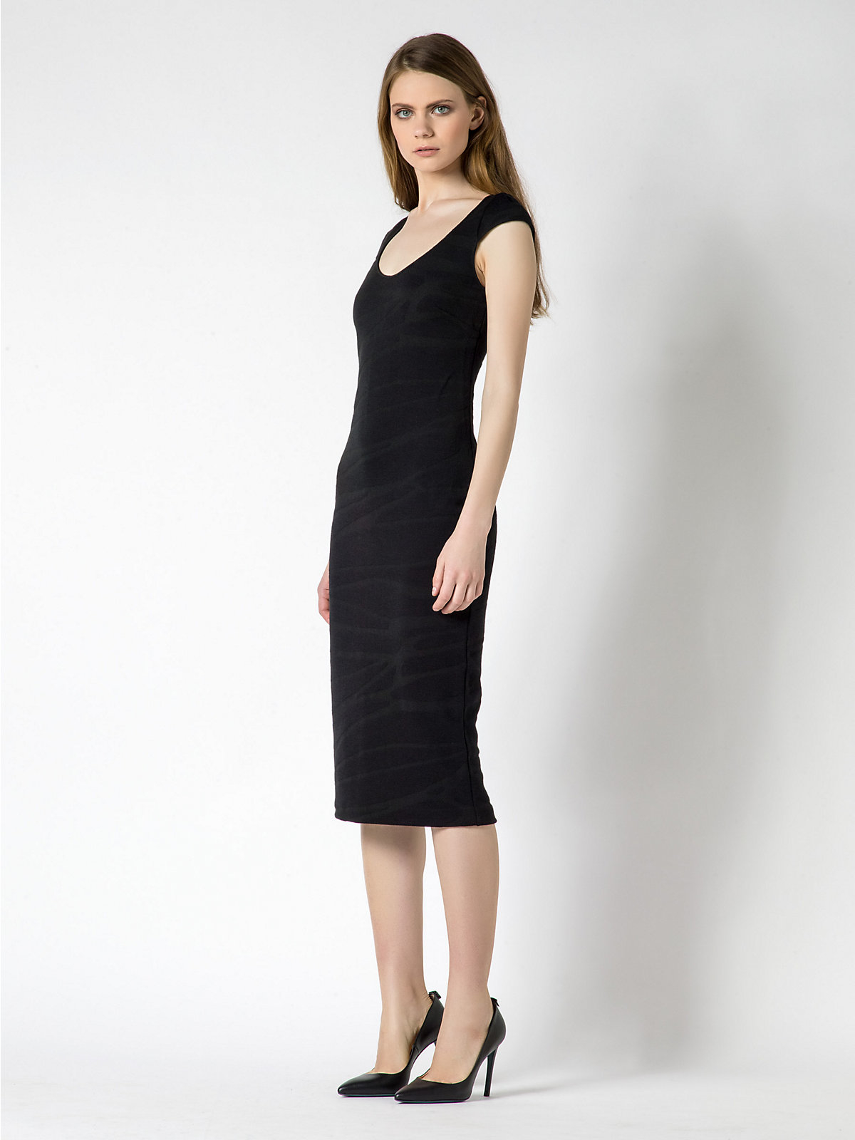 patrizia pepe knee lenght dress in wool jersey in black lyst. Black Bedroom Furniture Sets. Home Design Ideas