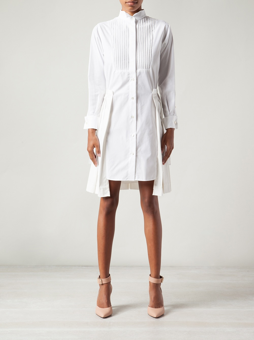 lyst sacai poplin shirt dress in white