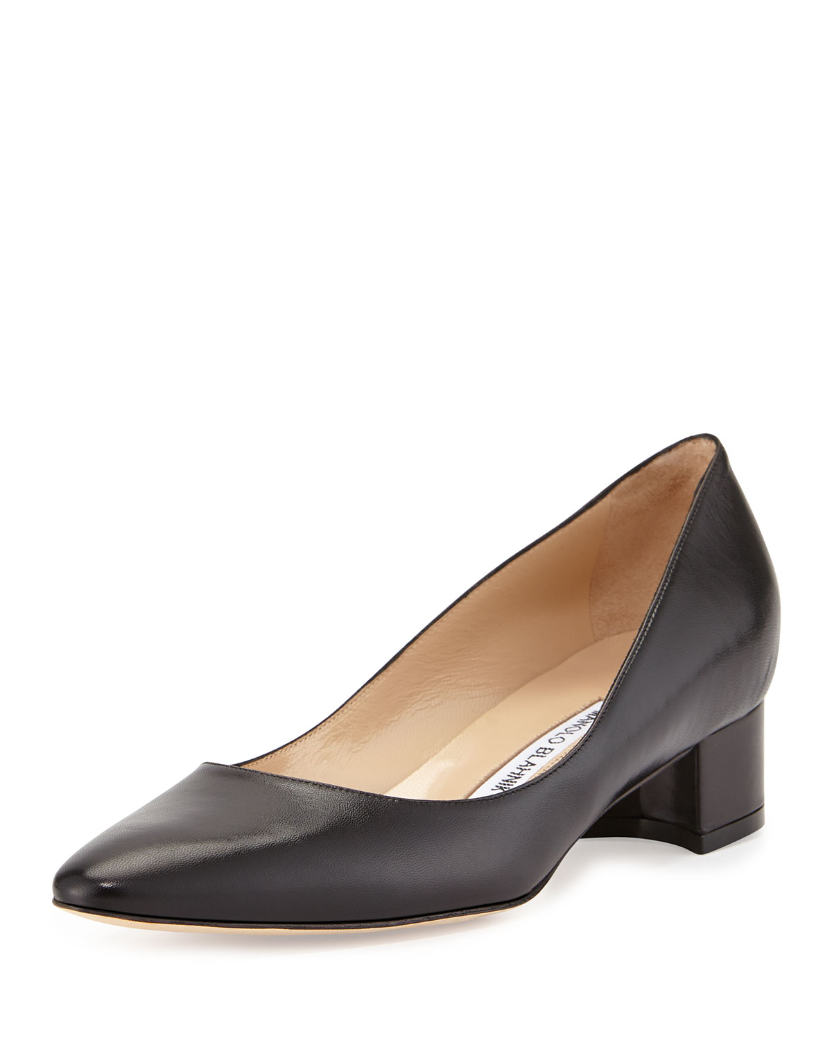 Manolo blahnik Listony Leather Low-heel Pump in Black | Lyst