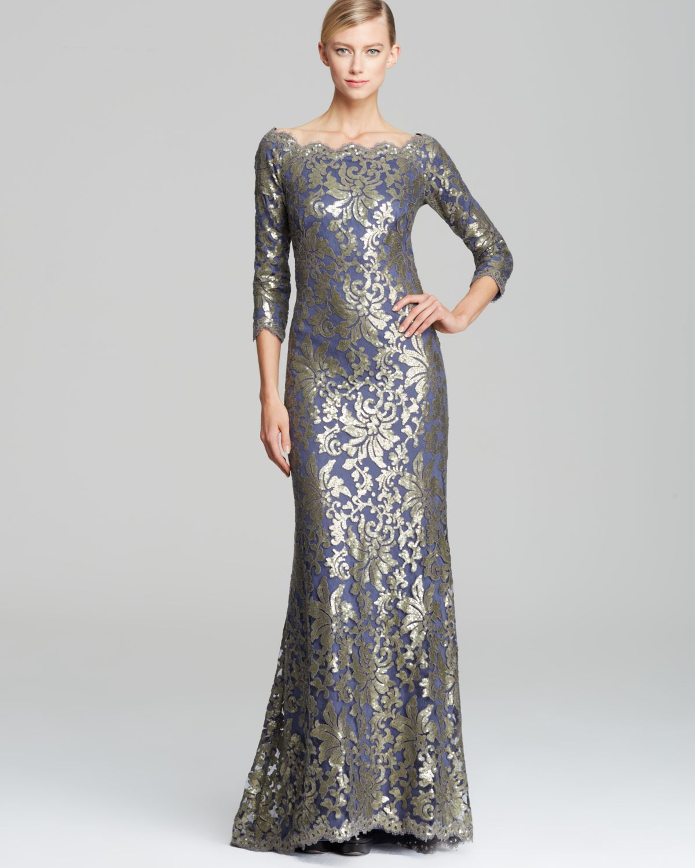 Lyst - Tadashi Shoji Off-Shoulder Metallic Lace Gown in Metallic