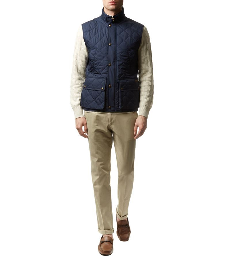 polo ralph lauren southbury quilted gilet in blue for men. Black Bedroom Furniture Sets. Home Design Ideas