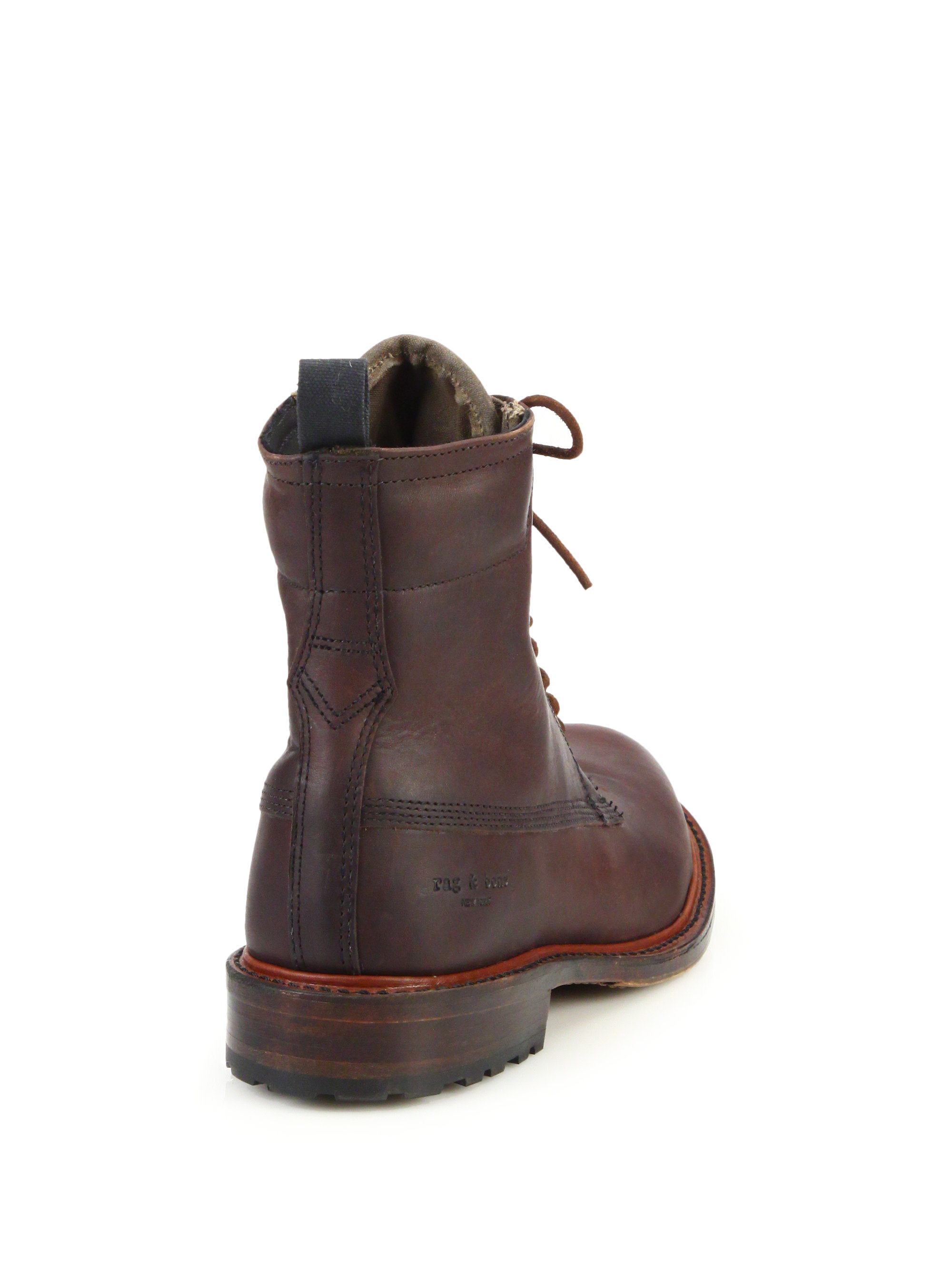 rag bone officer lace up leather boots in brown for