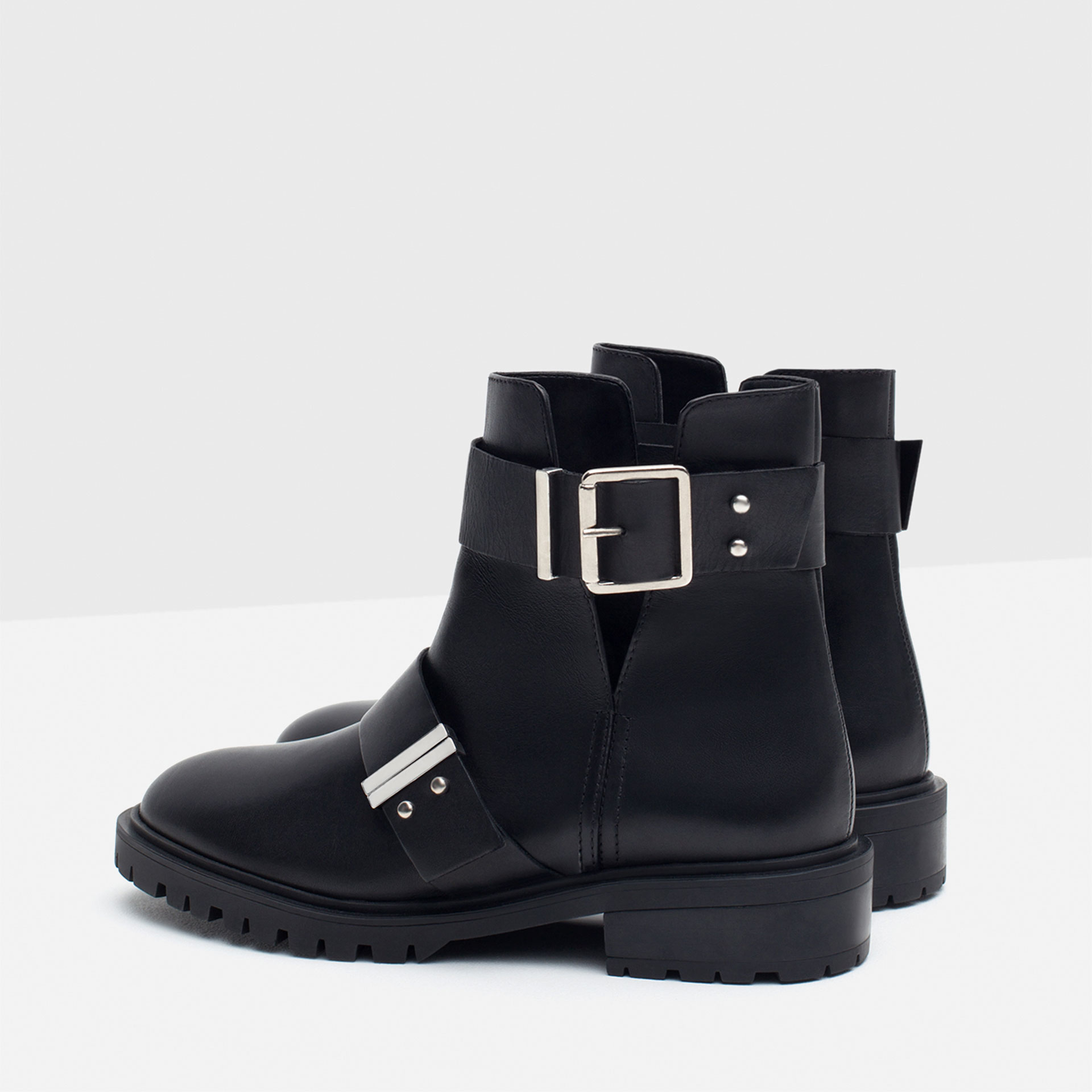 Zara Leather Biker Boots With Buckles in Black | Lyst