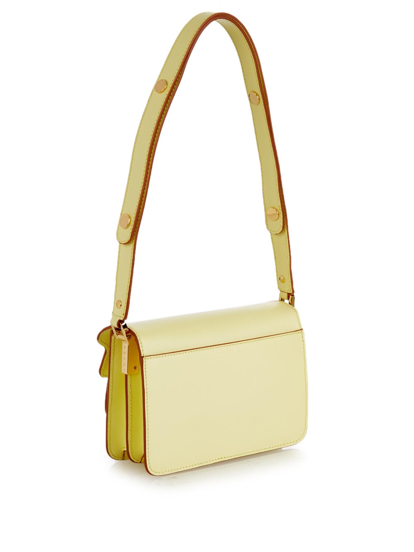 Marni Trunk Mini Leather Cross-body Bag in Yellow
