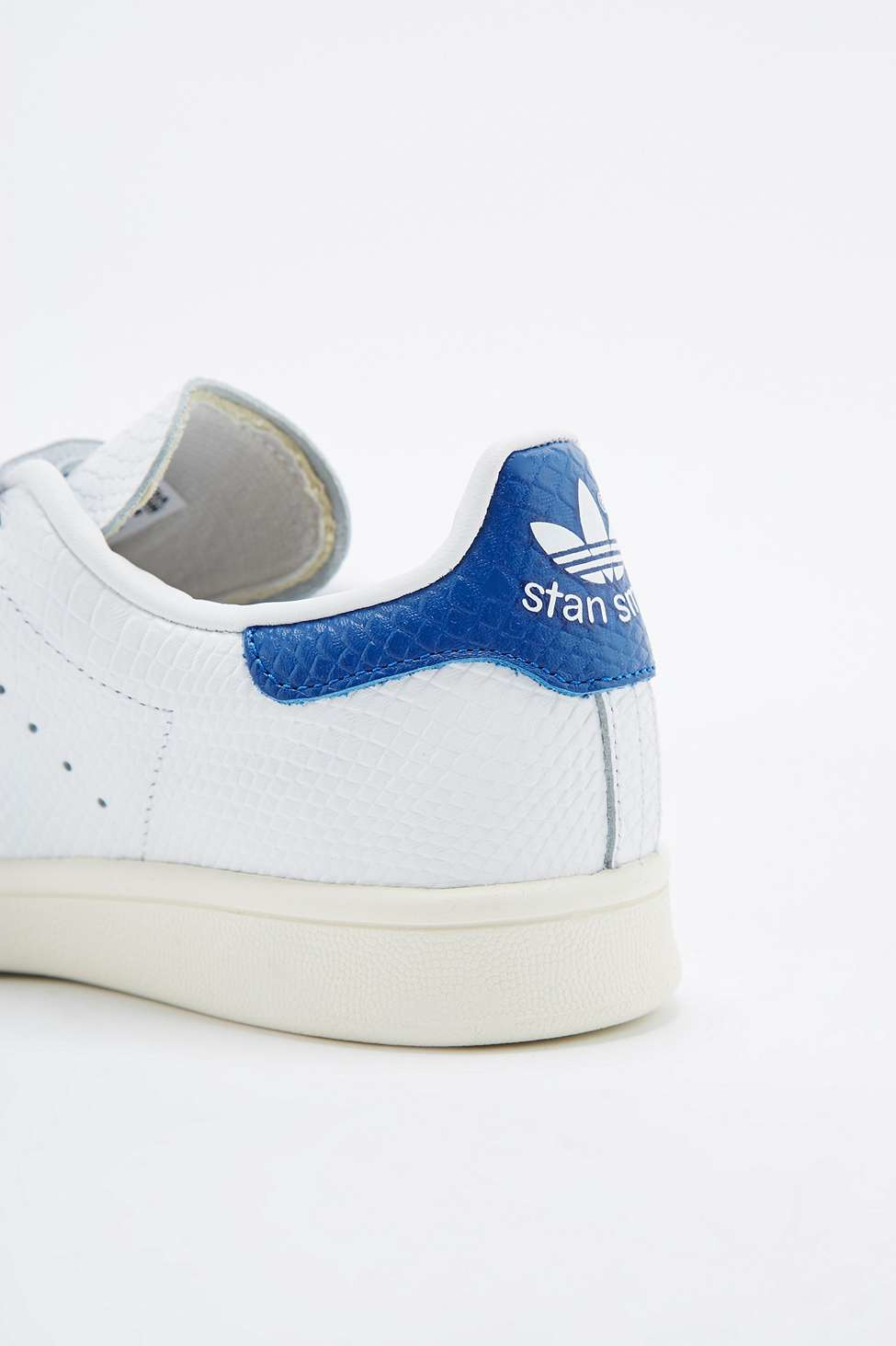 6cba6d1bf325 ... clearance adidas originals stan smith white blue velcro trainers in white  lyst df29d 537dc
