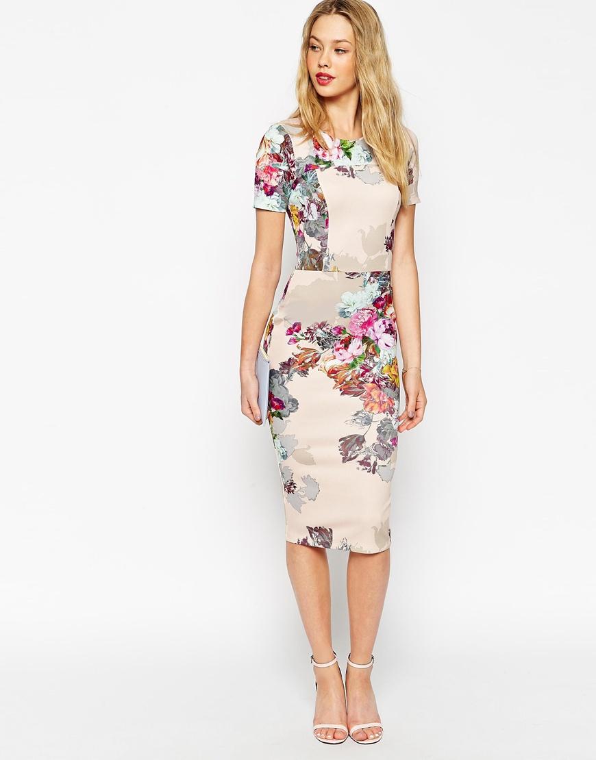 Lyst - Asos Floral Print Scuba Bodycon Dress in Gray