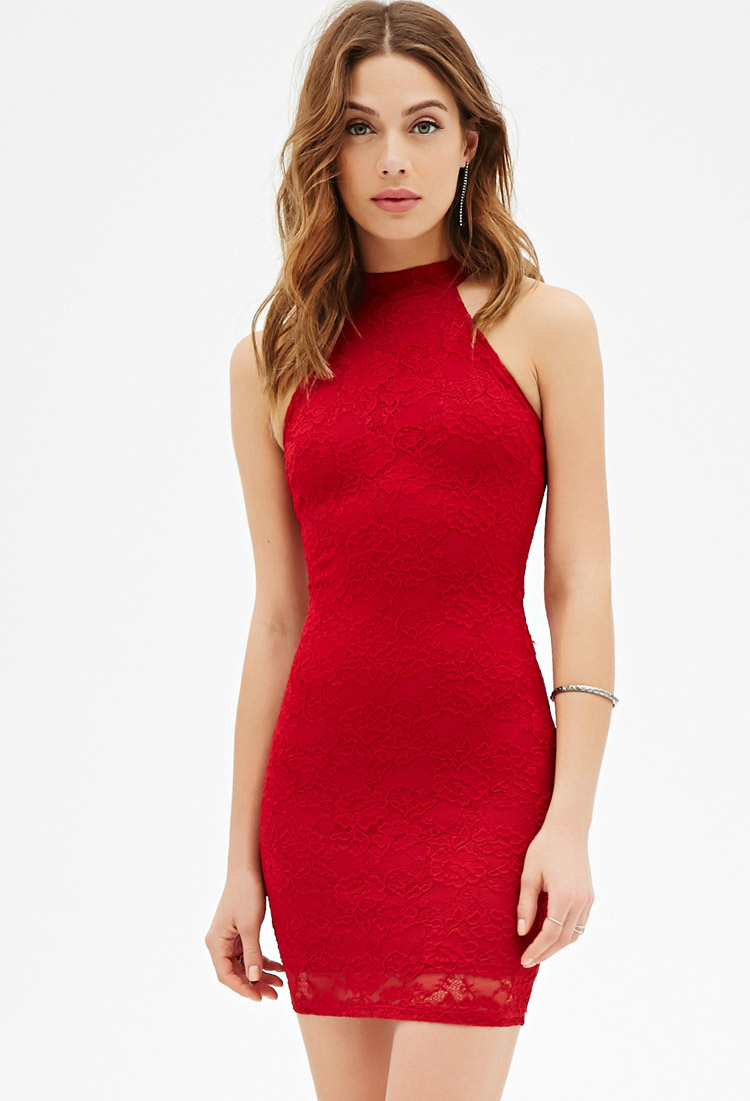 Forever 21 Floral Lace Halter Dress in Red | Lyst