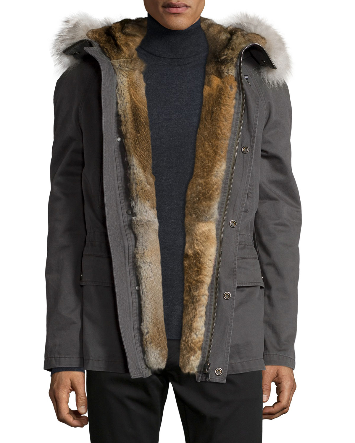 Mens Fur Lined Parka Coats Covu Clothing