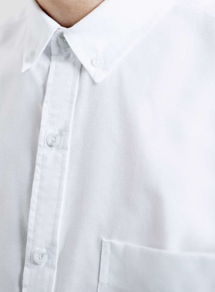 Topman white short sleeve oxford button down collar shirt for White button down collar oxford shirt