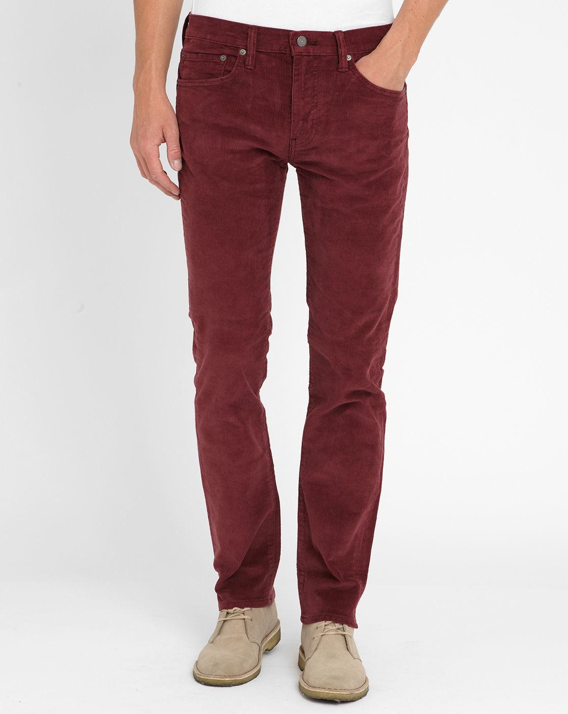 Mens Burgundy Jeans