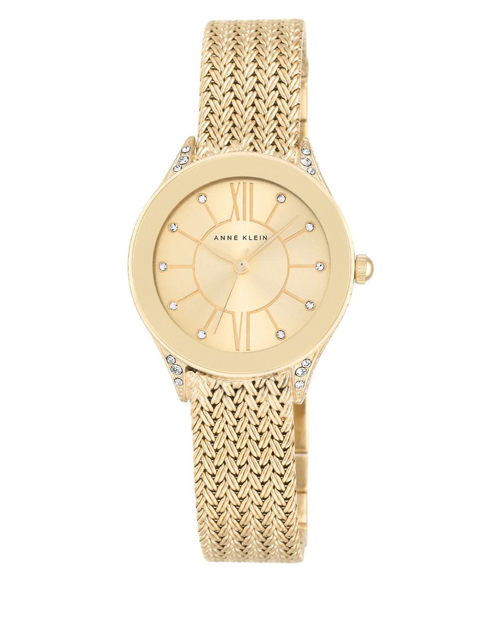 Anne klein swarovski crystal accented braided bracelet watch ak2208chgb in metallic lyst for Anne klein swarovski crystals