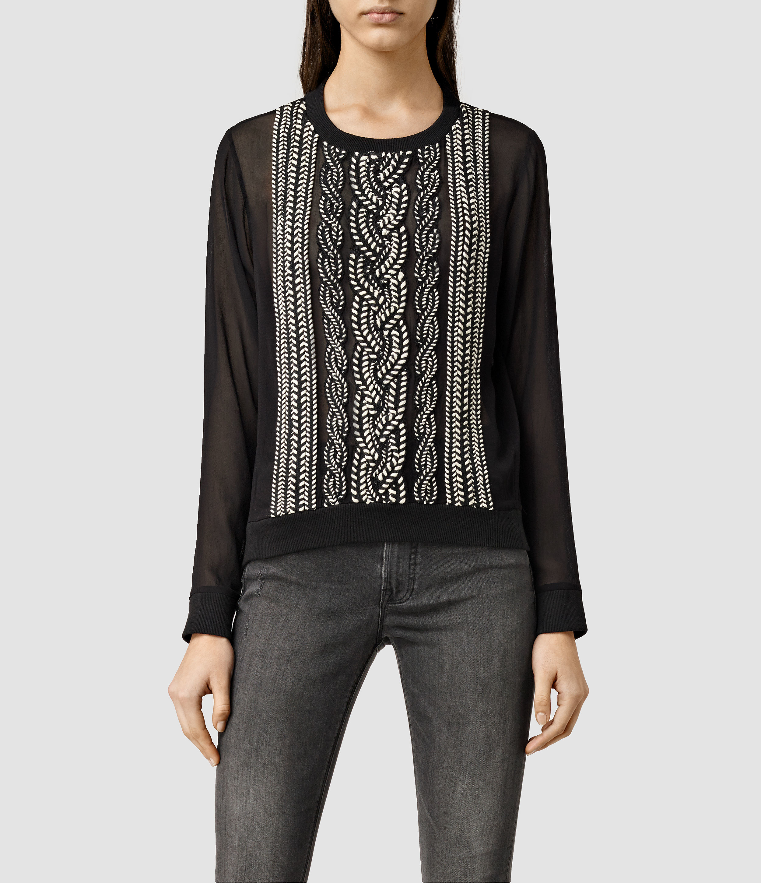 Allsaints Plethen Embroidered Top Usa Usa In Black  Lyst
