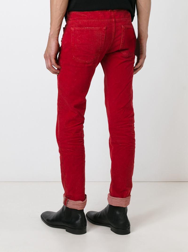 Diesel black gold Slim-Fit Denim Jeans in Red for Men | Lyst