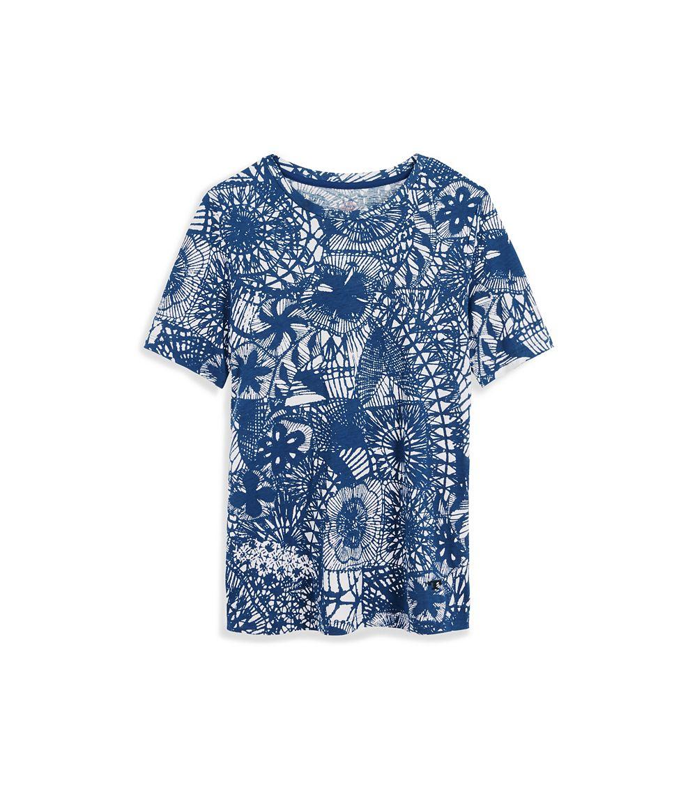 Tory burch kaia crochet and tassel print t shirt in blue for Tory burch t shirt
