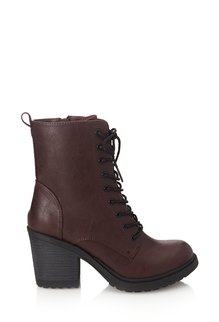 forever 21 laceup combat boots in purple lyst