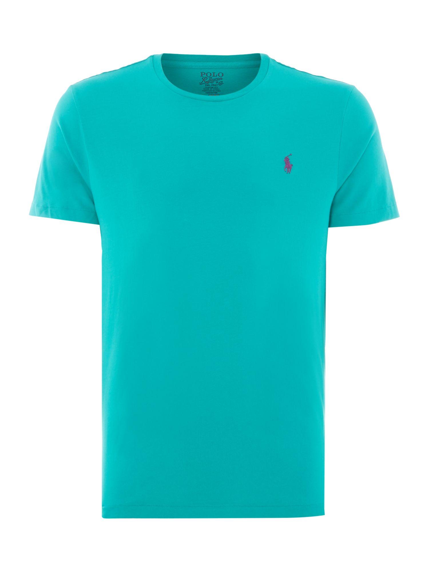 Polo ralph lauren crew neck combed jersey t shirt in blue for Ralph lauren polo jersey shirt